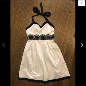 GUESS Satin Lace Trim Skater Halter Dress M 7